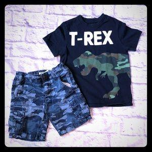 Boys Gap camo Dinosaur shirt shorts